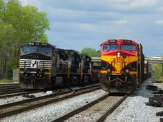 Eastbound KCS passing parked NS @ Meridian, Ms 4-8-14