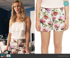 Anezka's floral shorts on Jane the Virgin.  Outfit Details: https://wornontv.net/61827/ #JanetheVirgin