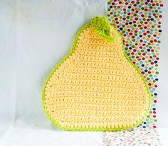 Crochet pear pot holder with green leaf by crotchetymama on Etsy, $15.00