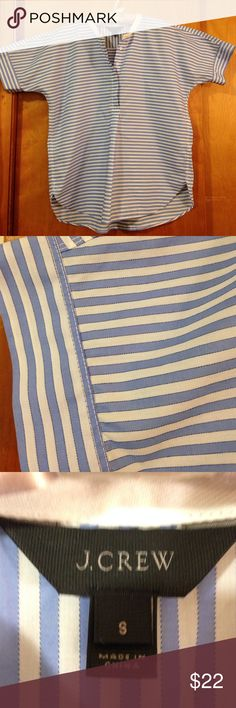 J Crew popover blue white stripe top size S J Crew stripe top made from 100% cotton. Front has half button closure collarless detail. Underarm to underarm 22 inches. Shoulder to bottom of garment 24 inches J. Crew Tops