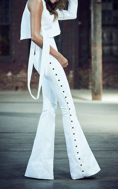 Contrast Stud Embellished Pants by Mulhier