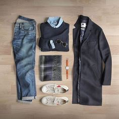 Great autumn look from our good friend: @thepacman82 featuring this top coat by: @nonationality07 :fallen_leaf::punch:  Follow for more: @votrends :white_check_mark:    Sweater: @nonationality07 Rib Crew   Shoes: @commedesgarcons PLAY X @converse Jack Purcell  Shirt: @nonationality07 Chambray   Scarf: @thetiebar  Watch: @miansai M12  Denim: RRL @ralphlauren  Sunglasses: @rayban Metal Round #flatlay #flatlays #flatlayapp www.theflatlay.com