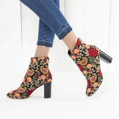 Embroidered high shaft bootie with a block heel and almond toe | Sole  Society Olympia