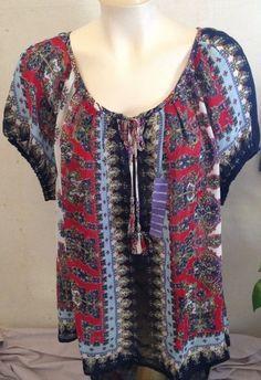BILA Women's Sheer Multi Color Short Sleeve Peasant Top Size XXL MSRP $57 NWT!  #Bila #Blouse #Casual