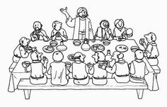 Last Supper, : Jesus Standing in Front of His Apostles in the Last Supper Coloring Page
