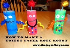 I'm always looking for easy crafts that my boys will love and these toilet paper roll robots are so much fun!