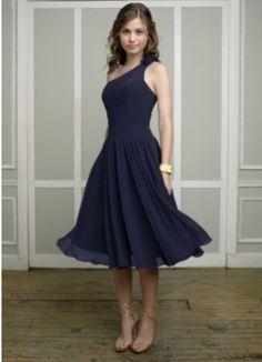 One shoulder sleeveless navy chiffon A-line pleated flower tea-length Bridesmaid Dress BD251131