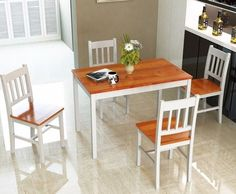 Modern Pine Wood 5Pcs Dinette Dining Set Table 4 Chairs Home Kitchen Furniture  #diningset #4chair #furniture #pinewood #kitchen #home #elegant