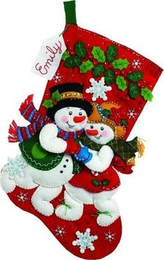 Bucilla Snowflake Snuggle Christmas Stocking - Felt Applique Kit. Festive designs, quality materials and generous embellishments continue to make Bucilla felt s