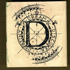 "Letter ""D"" Rubber Stamp Dream, Discover, Destiny in a Compass Collage by Stampers Anonymous"