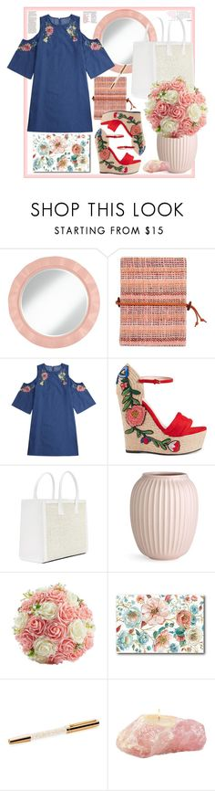 """""""Roses Outfit"""" by natalyapril1976 ❤ liked on Polyvore featuring Global Goods Partners, Gucci, Courtside Market and Swarovski"""