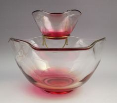 Vintage Indiana Glass Ruby Tri-Top Chip and Dip or Salad set in box