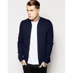 ASOS Jersey Bomber Jacket In Navy (630 MXN) ❤ liked on Polyvore featuring men's fashion, men's clothing, men's outerwear, men's jackets, navy, mens bomber jacket, mens navy blue bomber jacket, men's navy bomber jacket, tall mens jackets and mens zip up jackets