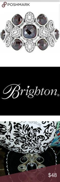 Brighton Hinge Cuff Dark Purple Jeweled Bracelet Purple encrusted jewels encased in silver on hinged cuff. Beautiful Brighton artistry. EUC. Brighton black/white heart shaped tin included in sale. Brighton Jewelry Bracelets