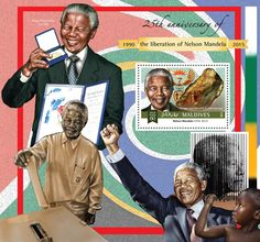 Post stamp Maldives MLD b anniversary of the liberation of Nelson Mandela Poldervaartite with Bultfonteinite) Nelson Mandela, 25th Anniversary, Maldives, Stamps, Baseball Cards, The Maldives, Seals, 25 Year Anniversary, Postage Stamps