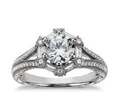 Monique Lhuillier Baguette Hexagon Engagement Ring via @POPSUGAR Fashion #BlueNile FUCKING GORGEOUS