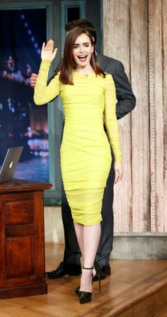 Lily Collins looking absolutely stunning in a look from Versace Resort 2014 on Late Night with Jimmy Fallon. #VersaceCelebrities