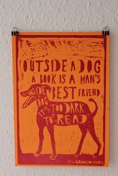 Outside a Dog  Lino print