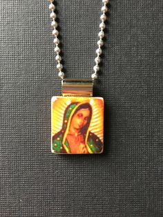 Lady of Guadalupe jewelry, handmade jewelry, recycled scrabble tile jewelry, Virgin Mary necklace, Lady of Guadalupe pendant, religious gift by InSmallPackages on Etsy