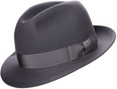 """Our timeless """"chicago"""" style fedora beautifully rendered in our most luxurious optimo 1000 felt – a soft medium blue with a marshmallow-like hand. Standard crown, 2 under-welted brim, with double stitching. Dress Hats, Men Dress, Gents Hats, Kangol Caps, Classic Hats, Stylish Hats, Latest Mens Fashion, Native American Fashion, Cool Hats"""