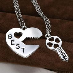 2 Piece Best Friends BFF Vintage Puzzle Pendant Friendship Necklace