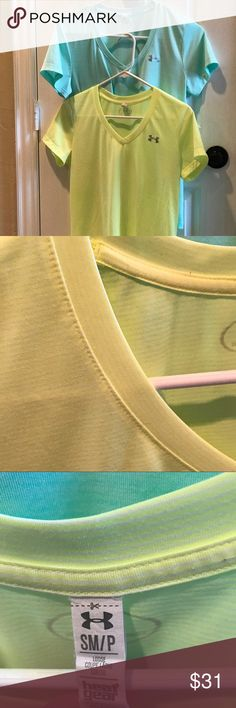 Under armour workout tops Get ready for spring with these two pastel workout tops.  The pale yellow one has a faint striped pattern.  The other one is a solid pale green. Like new condition. Under Armour Tops