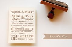 Rubber Stamp Vintage-Western Wedding Save the Dates + Invitations