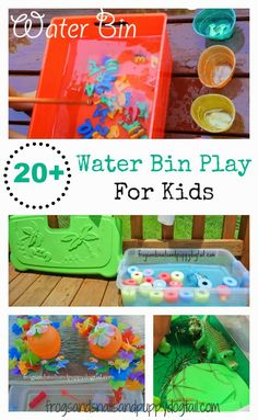 20 Water Bin Play Activities For Kids. Fun DIY water play ideas for the kids. Motor Activities, Sensory Activities, Infant Activities, Summer Activities, Outdoor Activities, Sensory Bins, Sensory Play, Sensory Table, Toddler Play