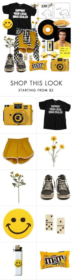 """yell, oh!"" by cecilpalmer ❤ liked on Polyvore featuring Holga, Crate and Barrel, Golden Goose, Hollywood Mirror, Charlotte Olympia, men's fashion and menswear"