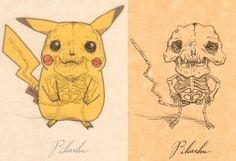 Classic Cartoon Characters Get Anatomical As Skeletons: Pikachu