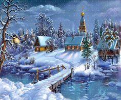 A beautiful snow village!