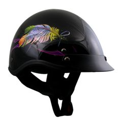 FLOATING FEATHER Womens DOT Motorcycle HALF Helmet GLOSS BLACK Outlaw Visor NEW