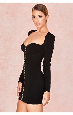 Clothing : Bodycon Dresses : 'Lala' Black Long Sleeve Bodice Dress