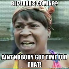 Sweet Brown Meme - Blizzard's coming? Aint nobody got time for that!
