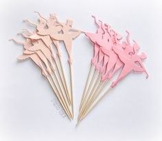 Set of 12 double sided tall Ballerina cupcake toppers, food picks, table decoration.    Ballerina size: approx. 2 3/4 tall x 2 wide(6,75cm x 5cm)