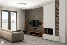 modern living room with wood effect wall decor, low TV stand and wooden columns, wall mounted flat screen and double sided fireplace - Home Fireplace, Modern Fireplace, Living Room With Fireplace, Fireplace Design, Living Room Decor, Fireplace Furniture, Tv Furniture, Furniture Storage, Wooden Columns