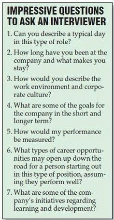At the end of each interview, they'll ask if you have any questions. Prepare some questions about the industry, company, specific role, or even the interviewer! Here are some examples.