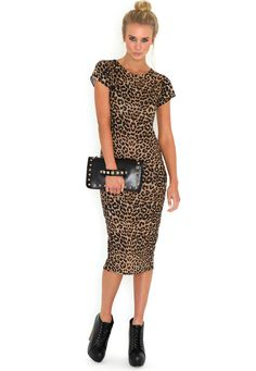 Daisie Leopard Print Midi Bodycon Dress  Supercool leopard print, midi bodycon dress with cap sleeves. Can be dressed up with killer heels, a statement blazer and a cute clutch or grunged down with a laid-back jacket and chunky boots.