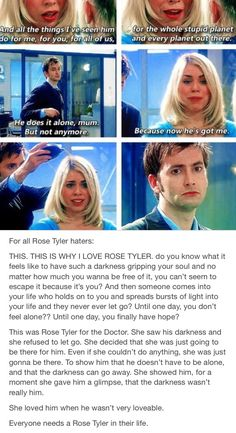 Rose Tyler haters. I love rose Tyler. Bad wolf. Doctor who. Whovian. Fandoms. Fandom life. Rose and the doctor. Doomsday doctor who.