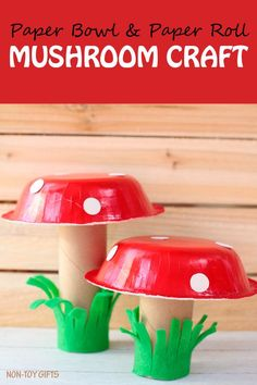 Paper bowl mushroom spring craft for kids. Use paper rolls and paper plates. Eas… Paper bowl mushroom spring craft for kids. Use paper rolls and paper plates. Easy craft for toddlers and preschoolers. Daycare Crafts, Preschool Crafts, Kids Crafts, Easy Crafts, Wood Crafts, Paper Bowls, Paper Plates, Spring Crafts For Kids, Summer Crafts