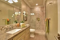 Contemporary 3/4 Bathroom with Stone Tile, Slate counters, Flush, Undermount sink, specialty tile floors, Limestone Tile