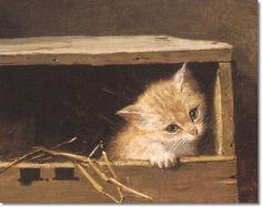 Kitten in a Box ~Henriette Ronner Knip