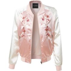LE3NO Womens Lightweight Satin Floral Embroidery Zip Up Bomber Jacket ($25) ❤ liked on Polyvore featuring outerwear, jackets, bomber style jacket, lightweight jackets, light weight jacket, flight jacket and pink jacket
