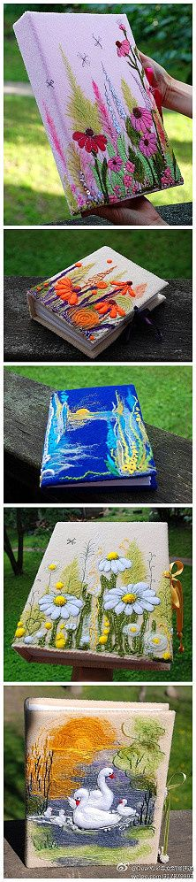 Embroidered book covers.  These are so pretty!  I want to do them for different type journals.