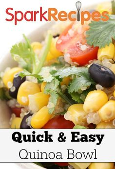 Southwestern Quinoa Avocado Bowl. Quick, easy, protein-packed!  via @SparkPeople #dinner #recipe #vegetarian #vegan #quinoa #protein #avocado