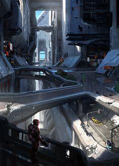 Halo 5 City Concept, Kory Hubbell on ArtStation at https://www.artstation.com/artwork/5eRgJ