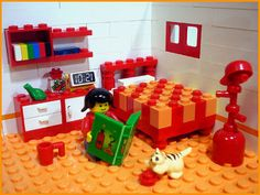 Lego kids bedroom by Alison Willey.  Great bed and love the sculpture in the right corner.  Or is it a hat & coat rack?  :))))