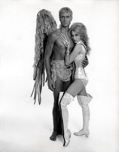 "BARBARELLA Jane Fonda and John Phillip Law as Pygar: ""An angel does not make love. An angel is love."""