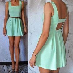 Green Plain Backless Square Neck Mini Dress