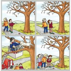 Cat in a tree sequence Sequencing Worksheets, Sequencing Cards, Preschool Education, Preschool Learning Activities, Language Activities, Story Sequencing Pictures, Picture Comprehension, Writing Pictures, Picture Composition
